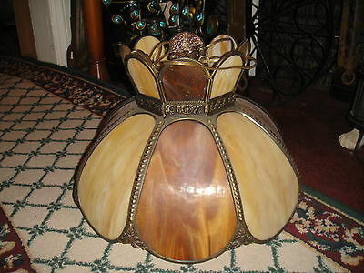 Vintage Slag Lamp Hanging Chandelier-Large Size-Glass Panels-Brown Color-LQQK