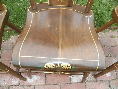 Set Of 3 Stenciled Decorated Plank Seat EBERSOL Chairs PA. 1987 Rustic Primitive 5