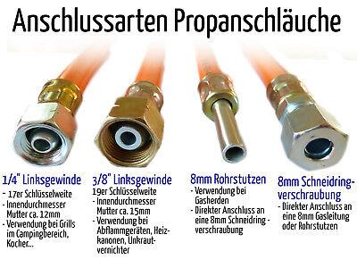 """8 mm Rohrstutzen Propanschlauch 1 m ND winterfest 1//4/"""" links"""