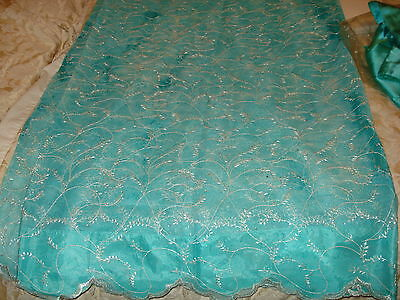Chinese Net/lace Ladies Indian Saree With Matching Petticoat & Blouse 4