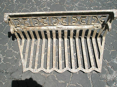 Antique Ornate Raised Relief Brass Gold Tone Metal Fireplace Surround Grate 5
