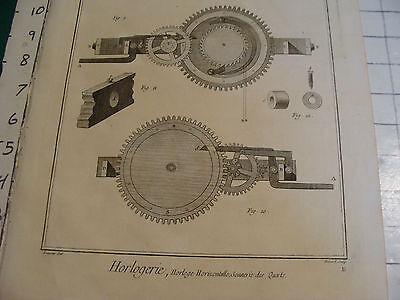 "Original engraving 1760's 10 1/2 x 16"" Horloge Horizontalle Sonnerie des Quarts 3"