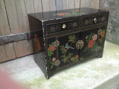 Black Lacquer Chinese 2 Drawer 2 Door Altar Table Oriental Cabinet Birds Flowers 8