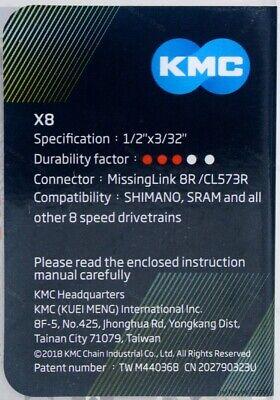 """MTB Bicycle Chain 116L fits 3x7 3x8 24-Speed 1//2/"""" X 3//32/"""" Road KMC X8.93 21"""