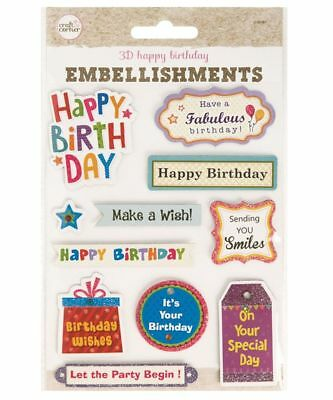 Happy Birthday Card Making Embellishments 3D Craft Cards Self Adhesive