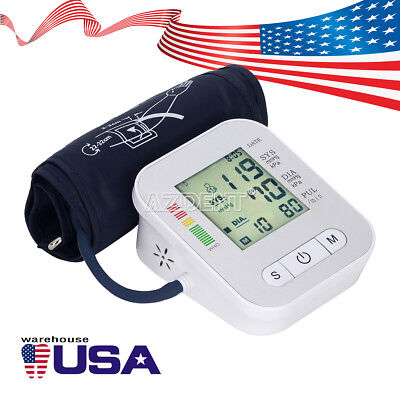 Automatic Digital Upper Arm Blood Pressure Monitor LCD Screen Heart Rate Beat US 3