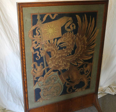 Antique Oak Fireplace Screen Insert - Tapestry Insert - 5