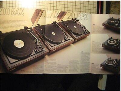 BSR Turntables Original Brochure 20BPX, 200BAX, 100BAX 2