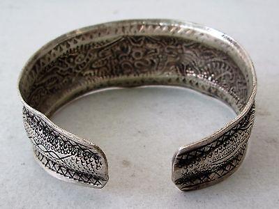 Old Hmong Hill Tribe Unisex Silver Adjustable Bracelet Dragon & Bird Design