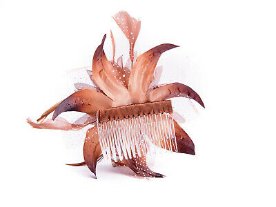 Brown Feather Comb Fascinator Wedding Races Proms Bridal Hair Accessory 3 2