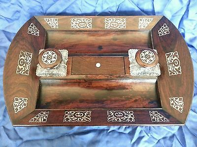 A William lV . Rosewood veneered Desk Standish / Ink well stand.Circa 1830's 12