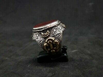 Old Yemani Agate Stone Solid Silver And Gold Plated Unique Ring #H76 4