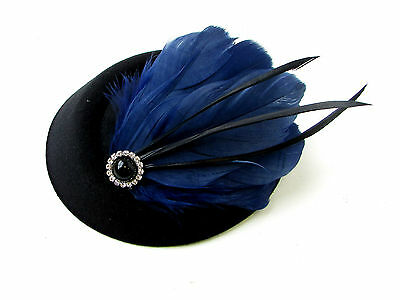 Black Navy Blue Feather Pillbox Hat Fascinator Vintage Races Headpiece 1920s 9AE 7