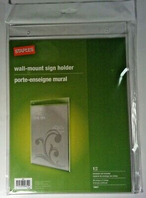 """2 Wall Mount Sign Holders 8.5"""" x 11"""" Staples Model 16651 4"""