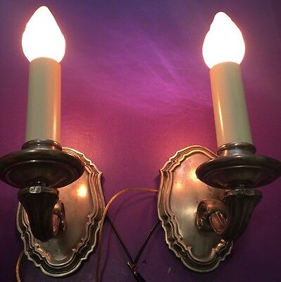 Heavy Cast Nickel Finish Wall Sconce Pair Beautiful Vintage Wired Great 5
