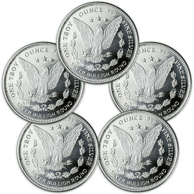 Lot of 5 - Morgan Dollar Design 1 oz .999 Silver Rounds SKU31047 2