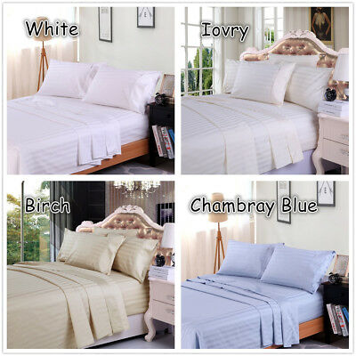 1000TC Egyptian Cotton Double,Queen or King Size Bed Sheet Set (Stripe).4 Pieces 6