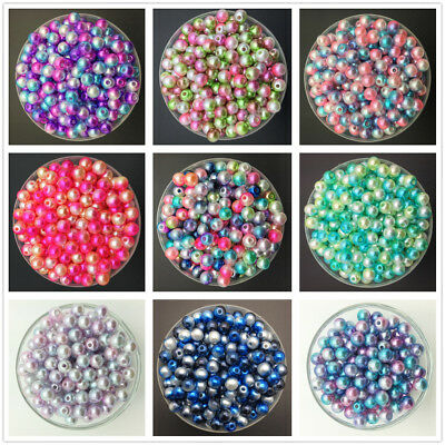 4/6/8mm Colorful Acrylic Round Pearl Spacer Loose Beads DIY Jewelry Making-WI 2