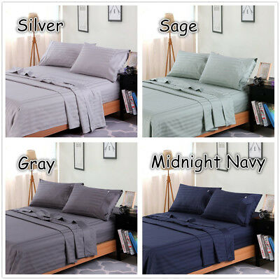 1000TC Egyptian Cotton Double,Queen or King Size Bed Sheet Set (Stripe).4 Pieces 7