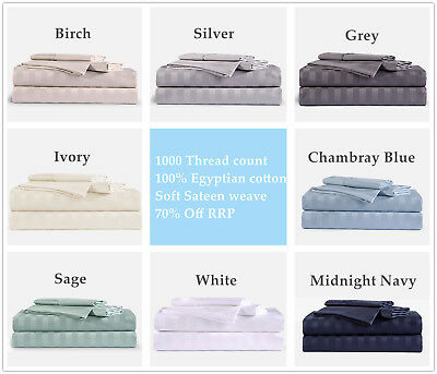 1000TC 100% Egyptian Cotton Double Queen King Bed Sheet Set (Stripe). 4 Pieces 3