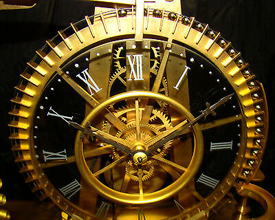 French Style Solid Rosewood Base 8 Day Waterwheel Industrial Ball Bearing Clock 3