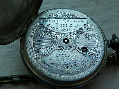 Olivier Quartier Locle Silver Pocket Watch  4678 3