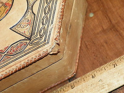 Vintage Hand-Tooled Leather Covered Dresser Box - Made In Morocco 2