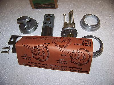 Vintage Modern Holly Made No. 3 Satin Chrome Cylinder Night Latch USA made NOS 3