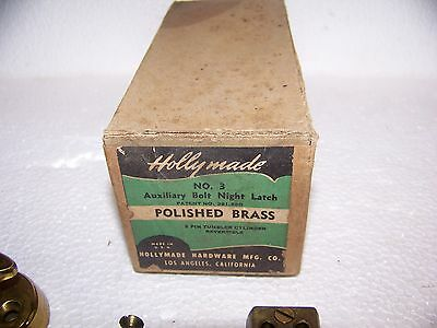 Vintage Modern Holly Made No. 3 Polished Brass Cylinder Night Latch USA made NOS 2