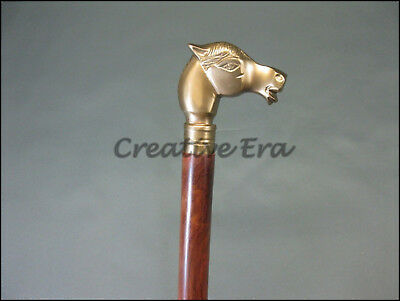 Antique Style Horse VINTAGE Victorian Brass Head Handle Wooden Walking Cane Gift 5