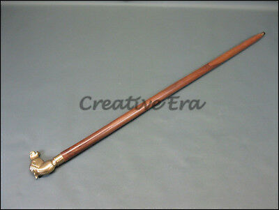 Antique Style Horse VINTAGE Victorian Brass Head Handle Wooden Walking Cane Gift 3