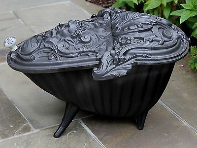 Antique French Gothic Victorian Cast Iron Fireplace Hearth Coal Hod Scuttle 4
