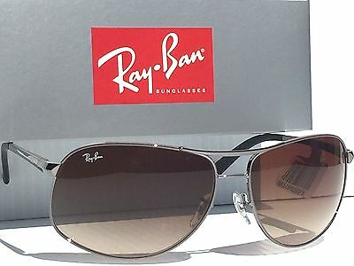 f9e55592094 ... NEW  Ray Ban AVIATOR SILVER 64mm w Bronze Blue Gradient Sunglass RB  3387 003