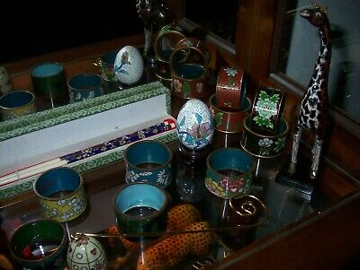 19 PIECES CLOISONNE COLLECTION, 2 animals, 13 napkin rings, 2 eggs, chopsticks 2
