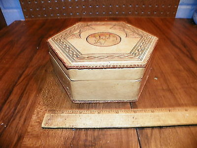 Vintage Hand-Tooled Leather Covered Dresser Box - Made In Morocco 4