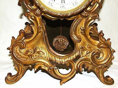 French Antique Louis XV Style Ormolu Bronze Mantel Bracket Clock c1880 6