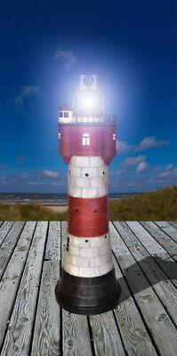 XL Gartendekoration Solar-Leuchtturm ROTER SAND+LED-Beleuchtung Solarbeleuchtung 4
