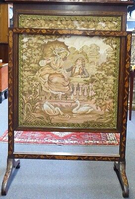 Antique English Inlaid Mahogany Adjustable Firescreen W/French Tapestry.1870 5