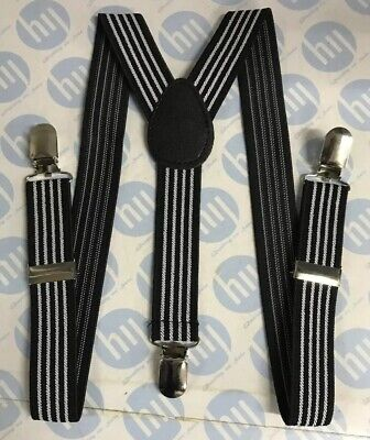 Unisex Novelty Fancy Dress Fashion Braces Black /& White Vertical Stripe Print