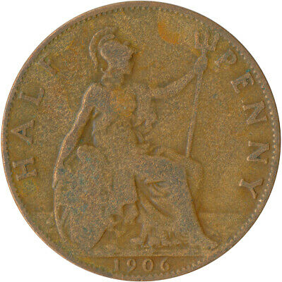 1906 Half Penny Of Edward Vii. / Collectible Coin    #Wt5352 2