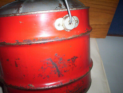 Vintage Red 2 Imperial Gallons Metal Jerry Gas Can Oil Pail + Lid & Spout Canada 10