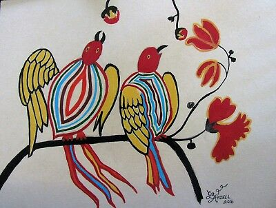 "C360      Original Acrylic  Painting By Ljh  ""Birds Of A Feather"" 12"