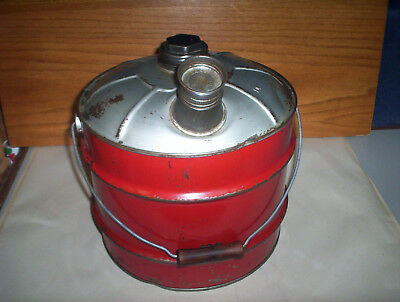 Vintage Red 2 Imperial Gallons Metal Jerry Gas Can Oil Pail + Lid & Spout Canada 8