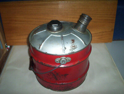 Vintage Red 2 Imperial Gallons Metal Jerry Gas Can Oil Pail + Lid & Spout Canada 12