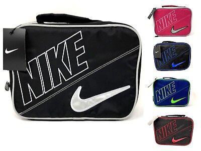 8455bd0d30 ... Nike Kids Insulated School Lunch Box Tote Bag Duffel Swoosh Logo Red Black  Blue 2