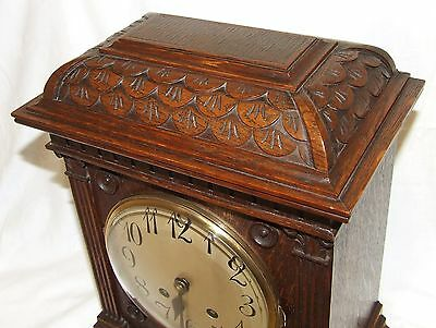 Antique LENZKIRCH Carved Oak Bracket Clock : CLEANED AND SERVICED 6
