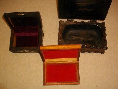 tres joyeros de madera y metal ( vintags) 21- 15 - y 14 ctms largo 3