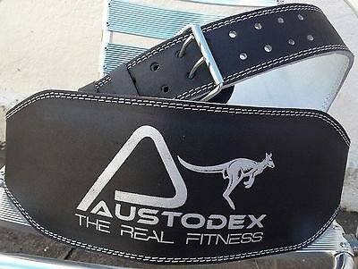 "Austodex Weight lifting bodybuilding back support weightlifting Leather Belt 6"" 4"