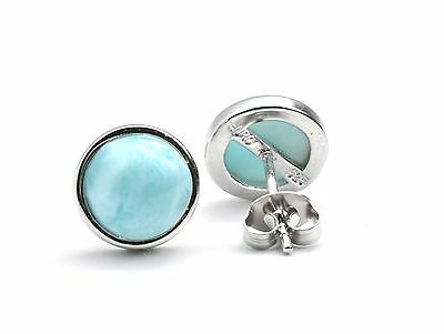 Larimar Genuine 100/% Natural 10mm Cabochon .925 Sterling Silver Stud Earrings