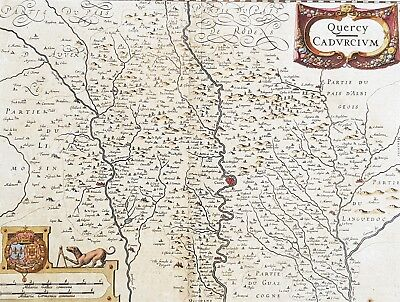 1628 Henricus Hondius Antique Map The Province of Quercy, Lot, Cahors, SW France 2